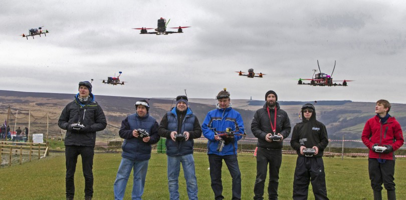 Pilots warming up before their drone race.